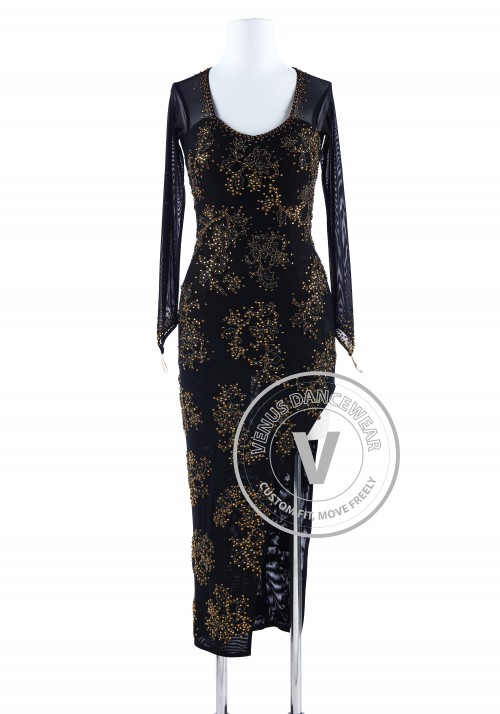 Golden Floral Cheongsam Style Tango Salsa Latin Rhythm Competition Dress