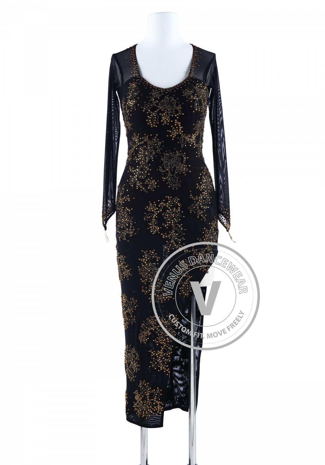 Golden Floral Cheongsam Style Tango Salsa Latin Rhythm Competition Dress