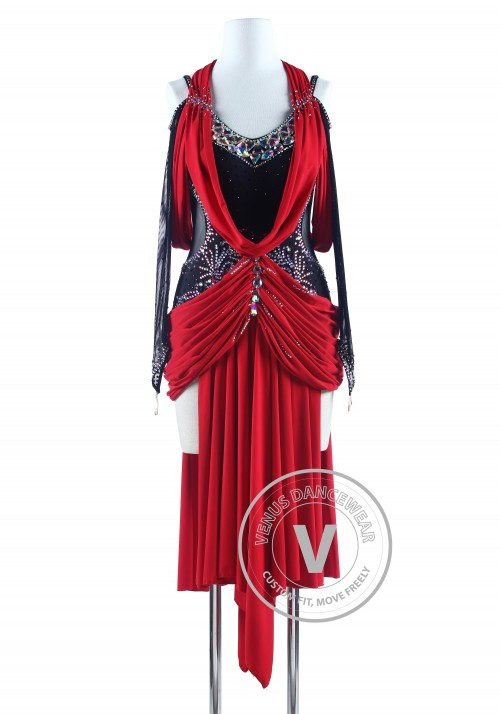 Black and Red Drape style Tango Salsa Latin Rhythm Competition Dress