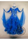 Blue Standard Ballroom Competition Dancewear Modern Waltz Tango Dance Dress