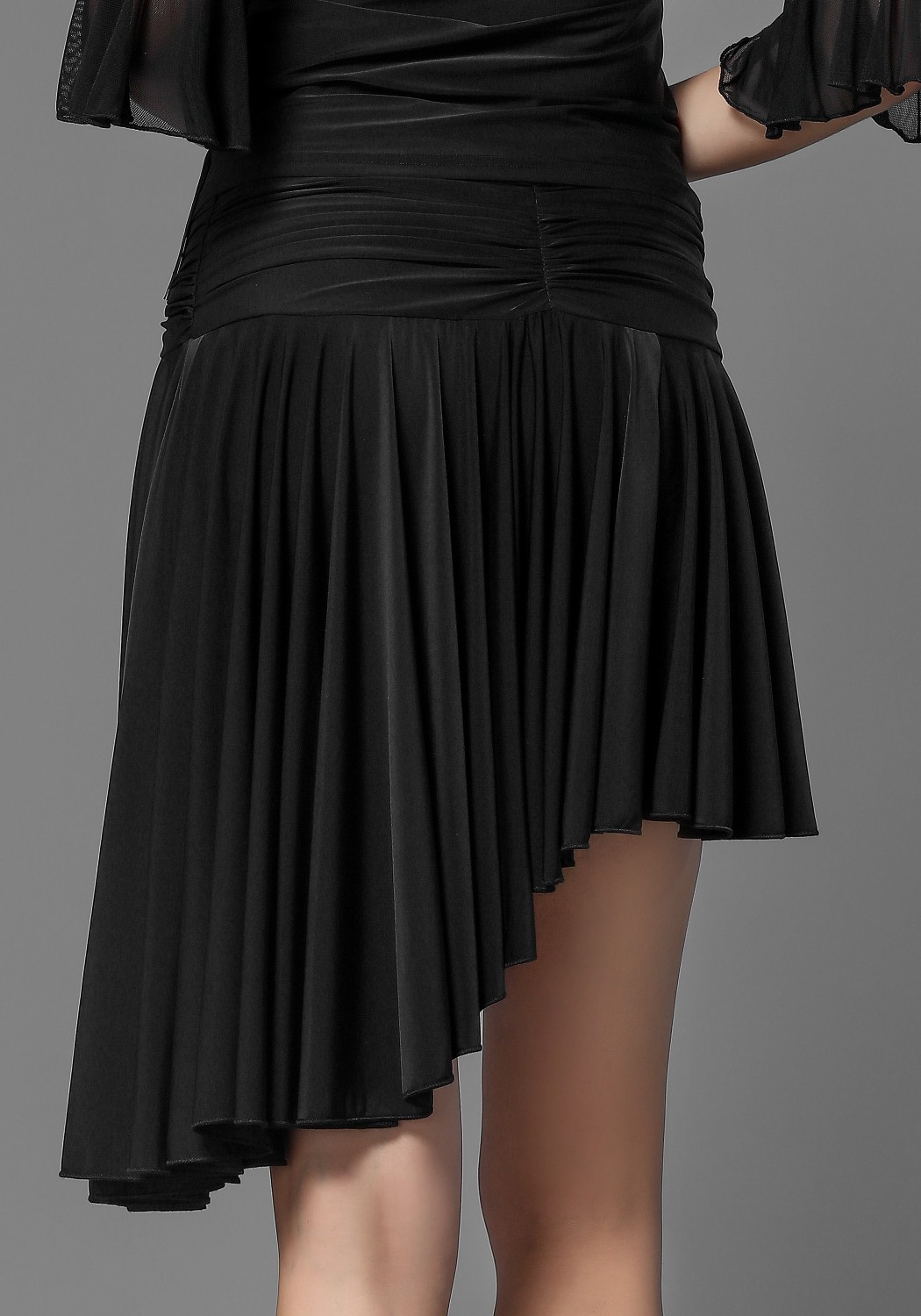 Latin Luxury Crepe Black Pleated Ruffle Dance Skirt