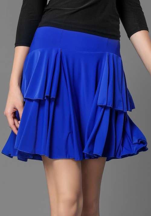 Latin Crepe Pleated Ruffle Dance Skirt