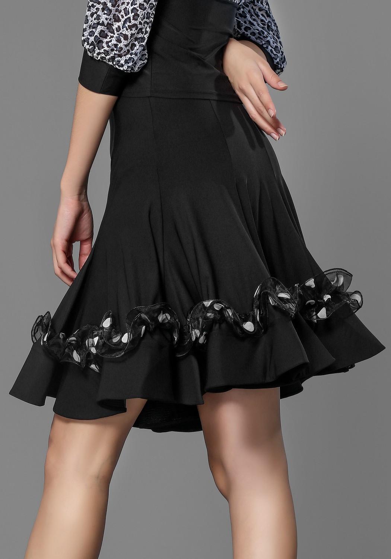 Latin Black Crepe Dance Skirt