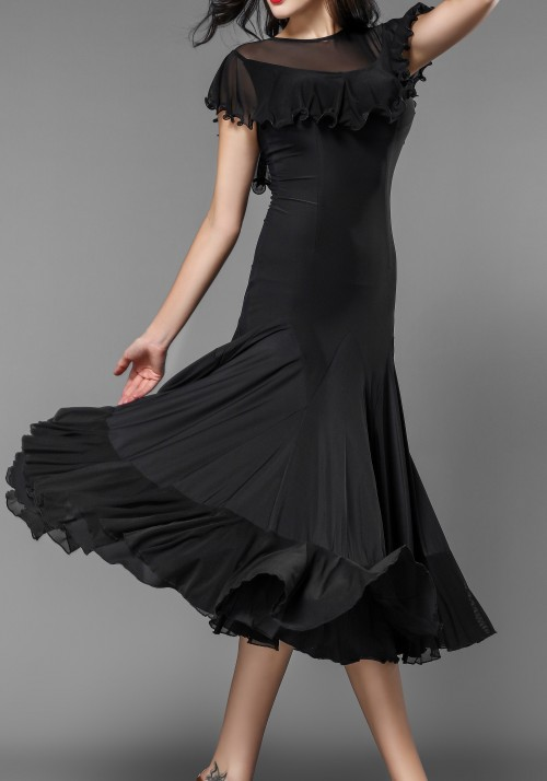 Luxury Crepe Ruffle Short Poncho Ballroom Practice Dress