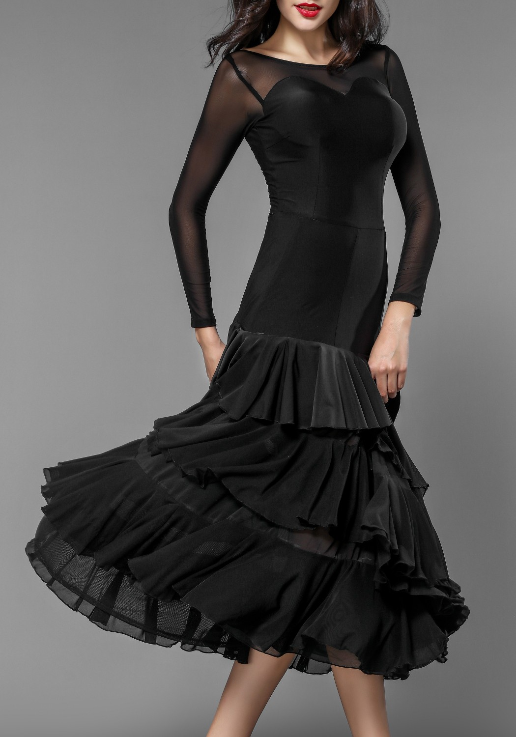 Ballroom Smooth Crepe Sexy Layered Accordion Pleat Practice Dress