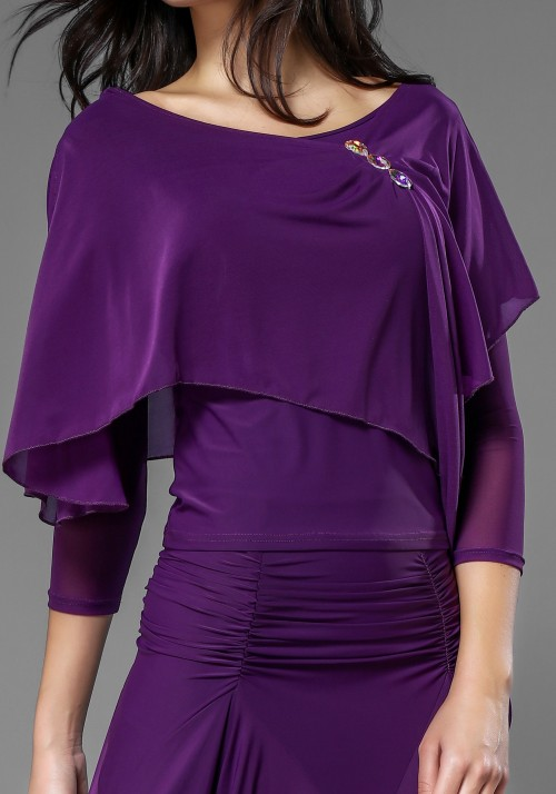 Luxury Fuchsia Crepe Long Cape Top