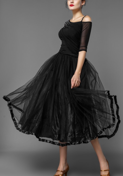 Black Organdy Ballroom Puffy Skirt