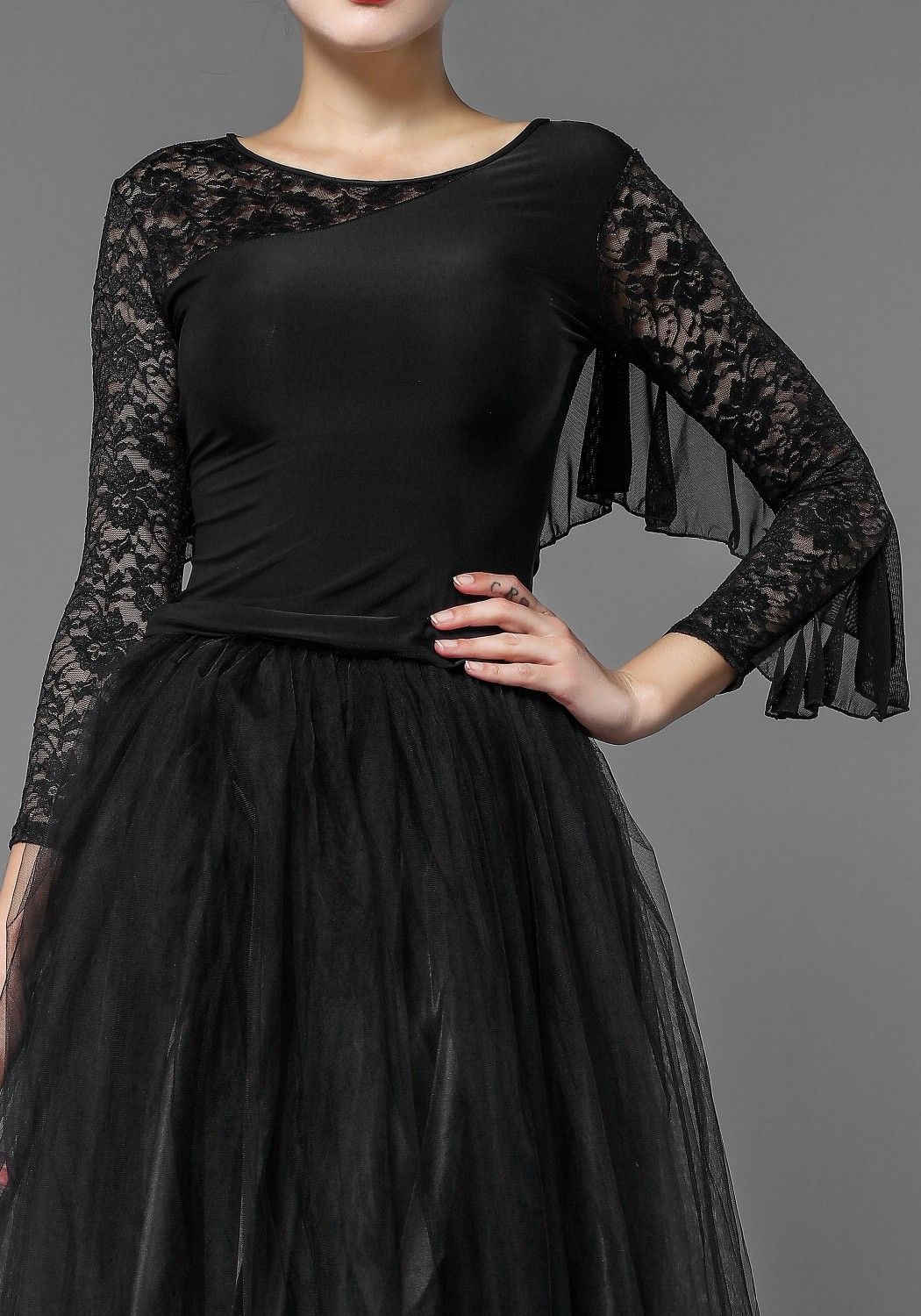 Black Lace and Luxury Crepe Top