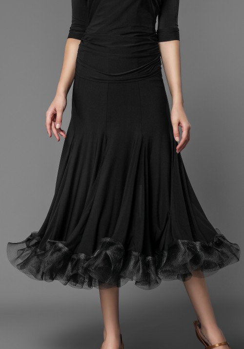 Luxury Flounced Crepe Slit Ballroom Skirt
