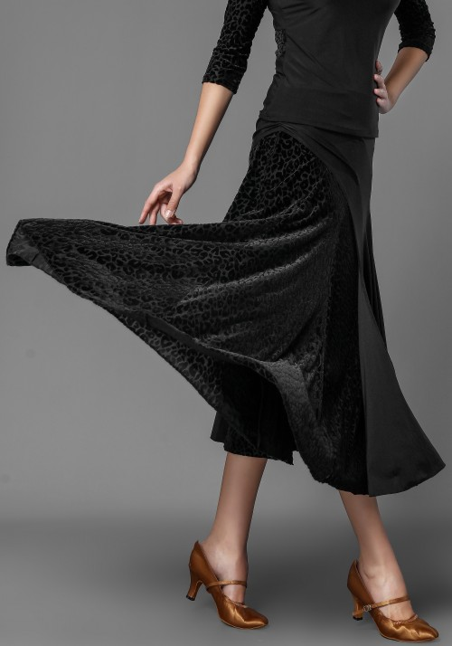 Luxury Leopard Velvet and Crepe Ballroom Skirt