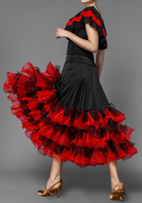 British Red Style Layered Flounced Ballroom Skirt