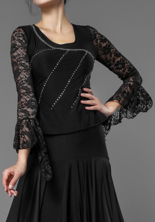 Luxury Black Lace and Crepe Top