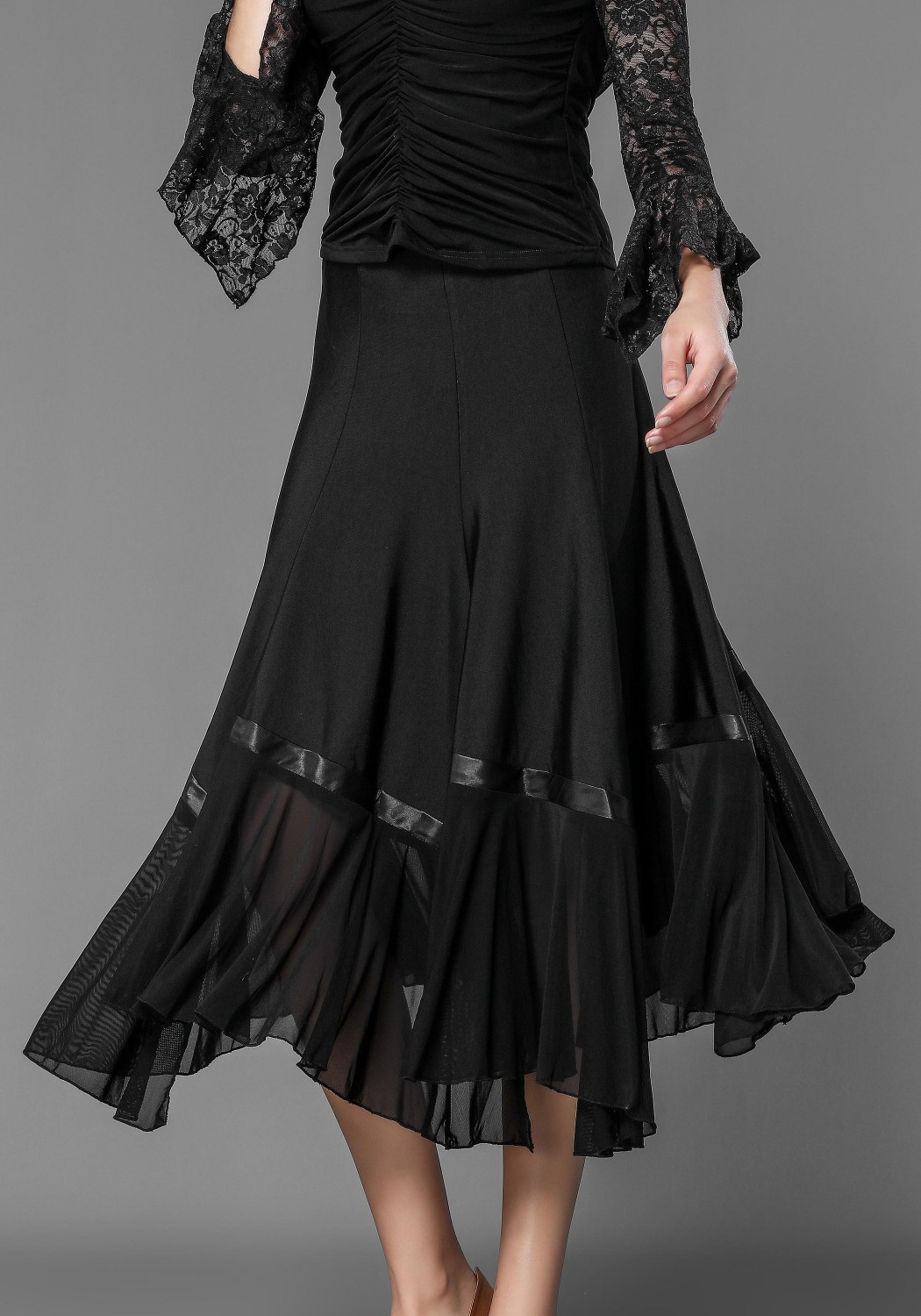 Luxury Crepe and Stretch Net Ballroom Skirt