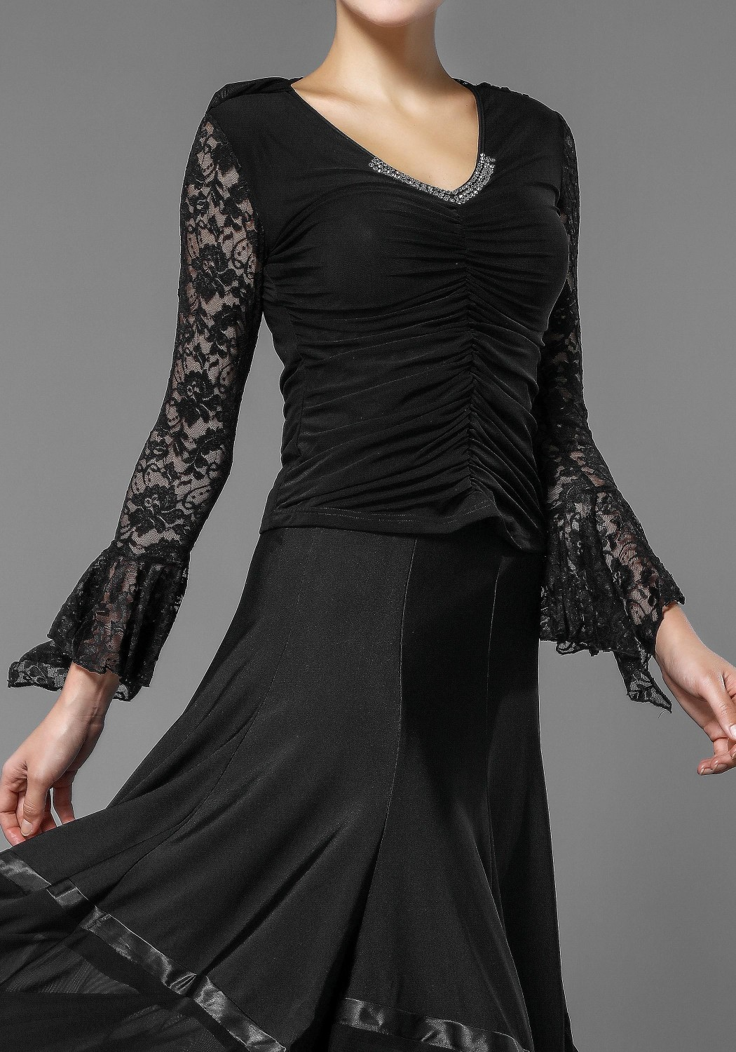 Black Lace and Crepe Flare Sleeve Top