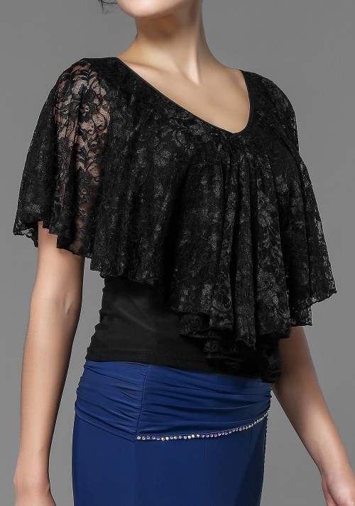 Luxury Crepe and Lace Short Cape Top