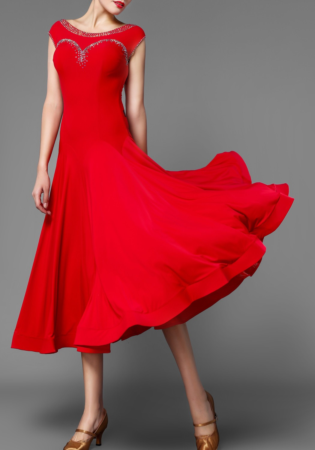 Red Crepe Stoned Ballroom Smooth Practice Dress