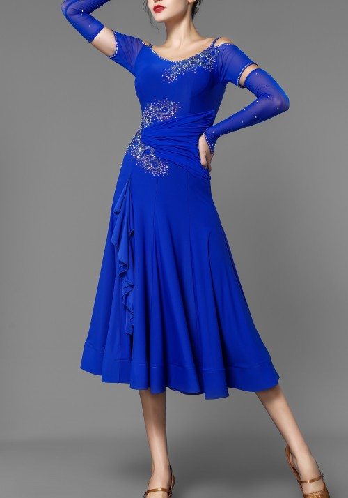 Ocean Blue Crepe Stoned Ballroom Smooth Practice Dress