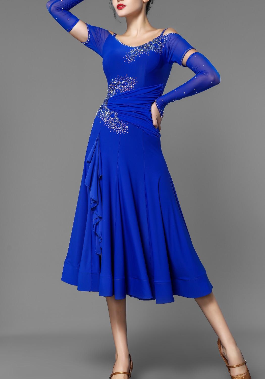 Ocean Blue Crepe Stoned Ballroom Smooth Practice Dress
