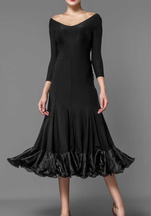 Black Crepe Ballroom Smooth Practice Dress