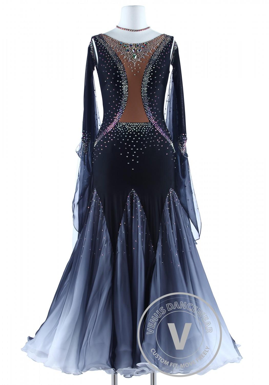Black Vest Shading Tancel Foxtrot Waltz Quickstep Dancing Dress