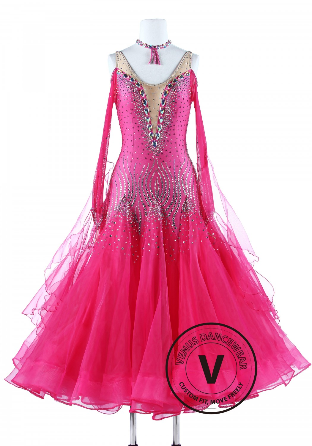 Pink Coral Luxury Foxtrot Waltz Quickstep Competition Dress
