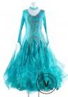 Turquoise Lace Standard Foxtrot Waltz Quickstep Competition Dress