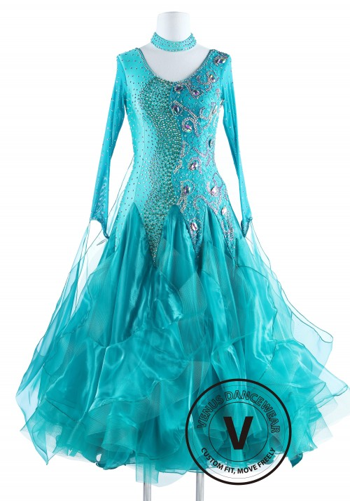 Turquoise Lace Standard Foxtrot Waltz Quickstep Competition Dress