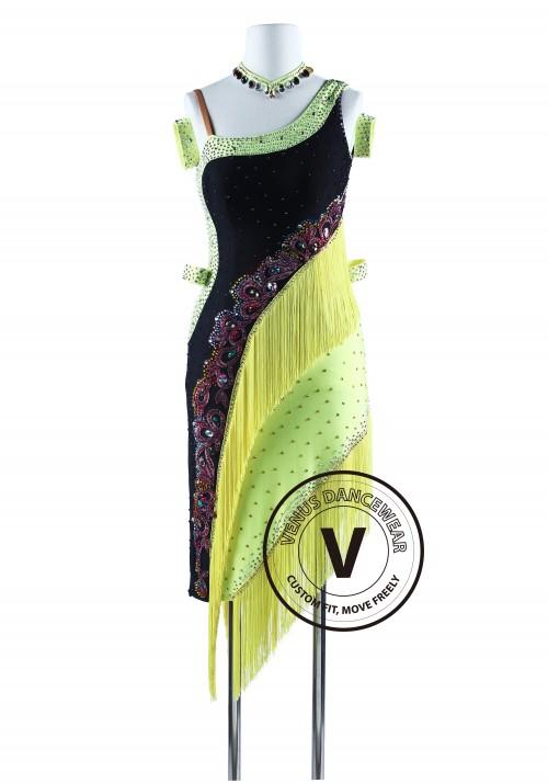 Tropical Fish Fringe Tango Salsa Latin Rhythm Dress