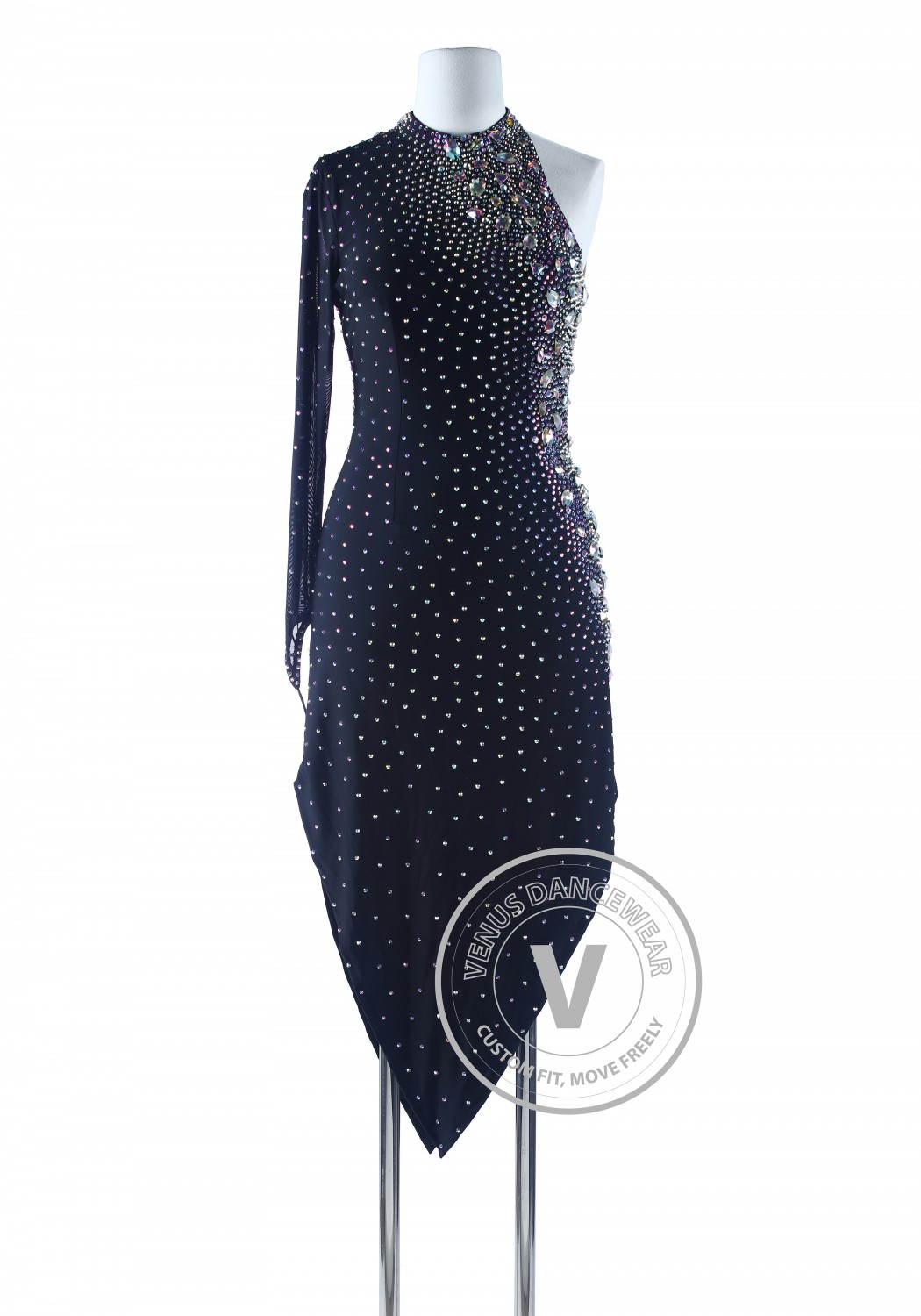 Black Tango Salsa Latin Rhythm Competition Dancing Dress