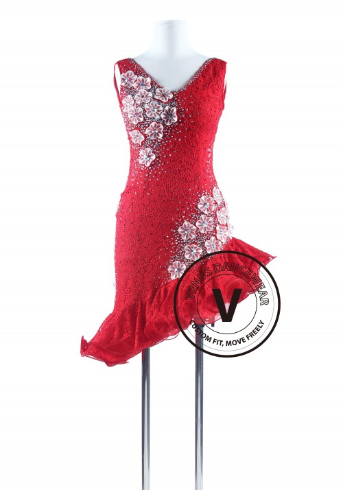 Red Lace Tango Salsa Latin Rhythm Competition Dress