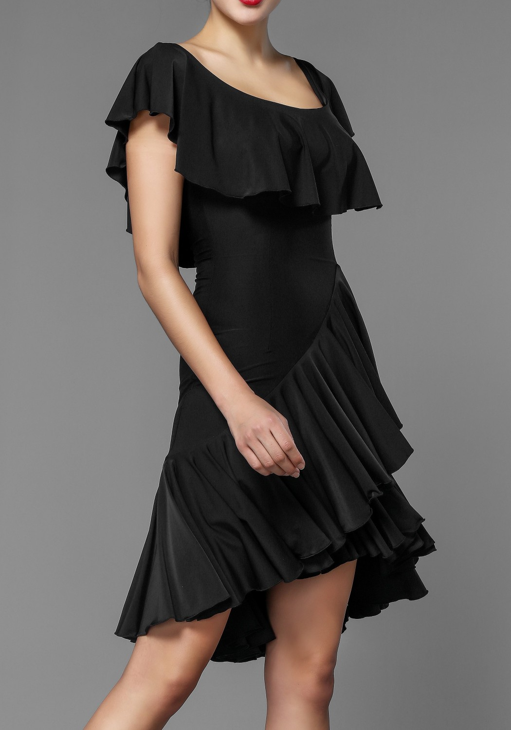 Latin Rhythm Crepe Ruffle Practice Dance Dress