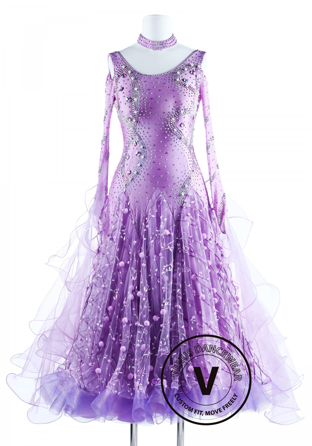 Lavender Snowball Luxury Foxtrot Waltz Quickstep Competition Dress