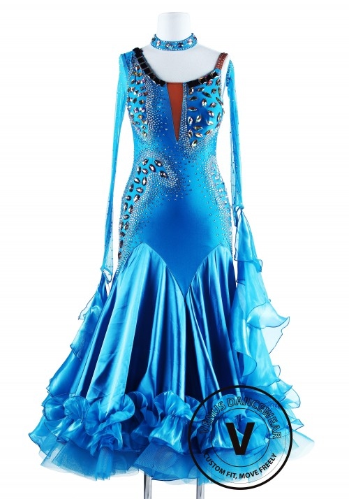 Blue Wild Cat Satain Foxtrot Waltz Ballroom Dancing Dress