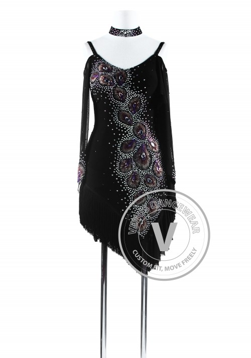 Black Peacock Plumes Fringe Latin Rhythm Competition Dress