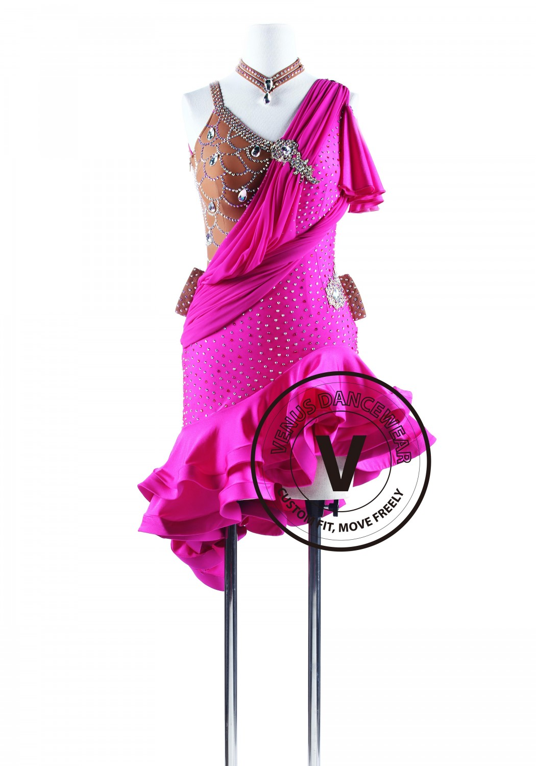 Magenta Ruffled Salsa Latin Rhythm Competition Dress