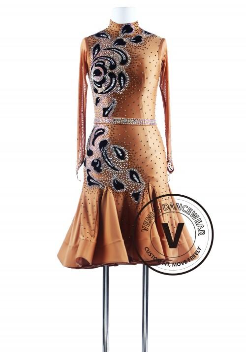 Caramel Sugar Gorgeous Ruched Tango Latin Competition Dress