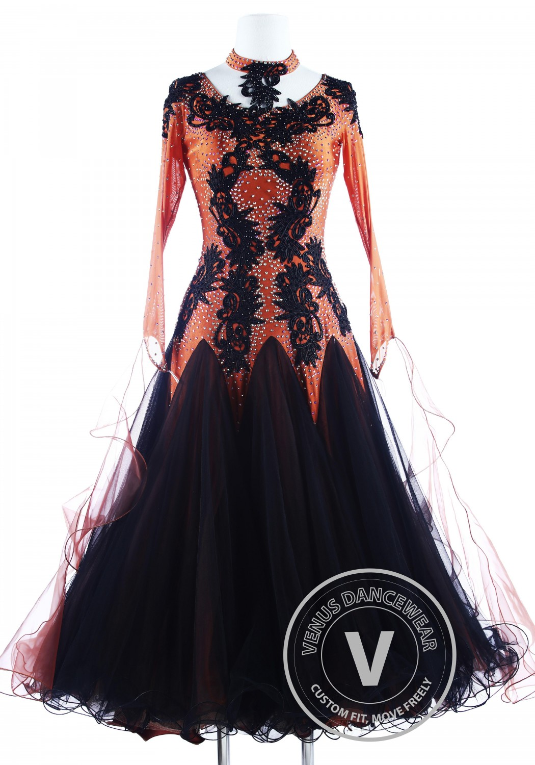 Black Dragon Appliques Gorgeous Foxtrot Waltz Ballroom Competition Dress