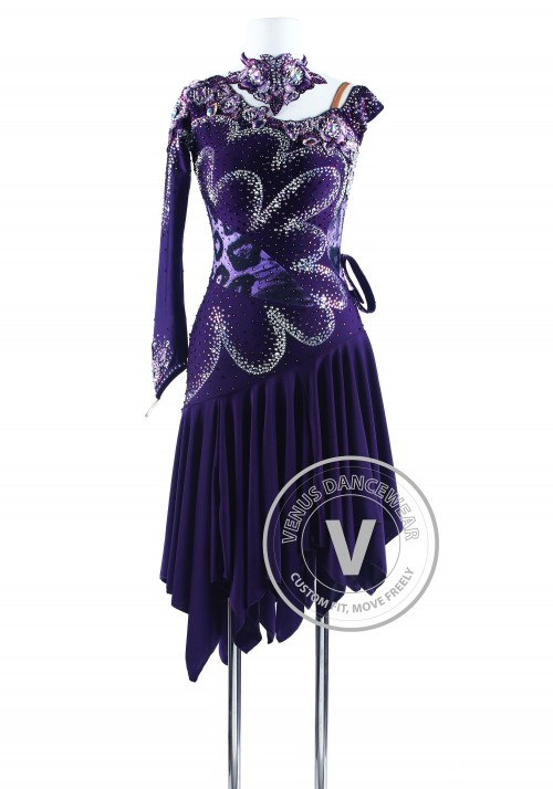 Dark Purple Lotus Leaf Latin Rhythm Competition Dress