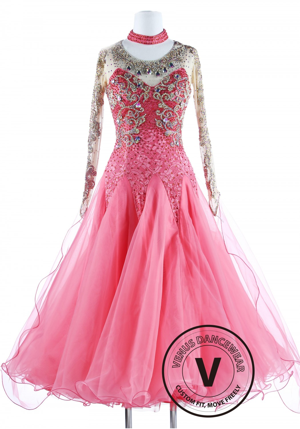 Salmon Lace Gorgeous Standard Waltz Ballroom Competition Dance Dress