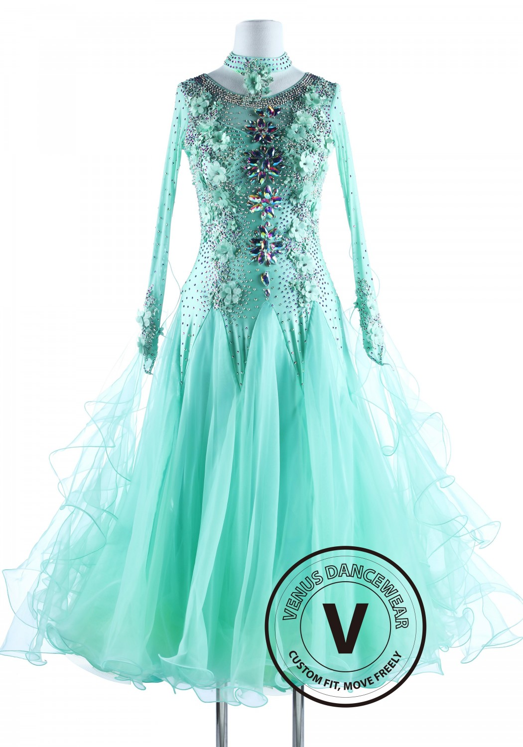 Caribbean Solid Flower International Waltz Ballroom Competition Dance Dress