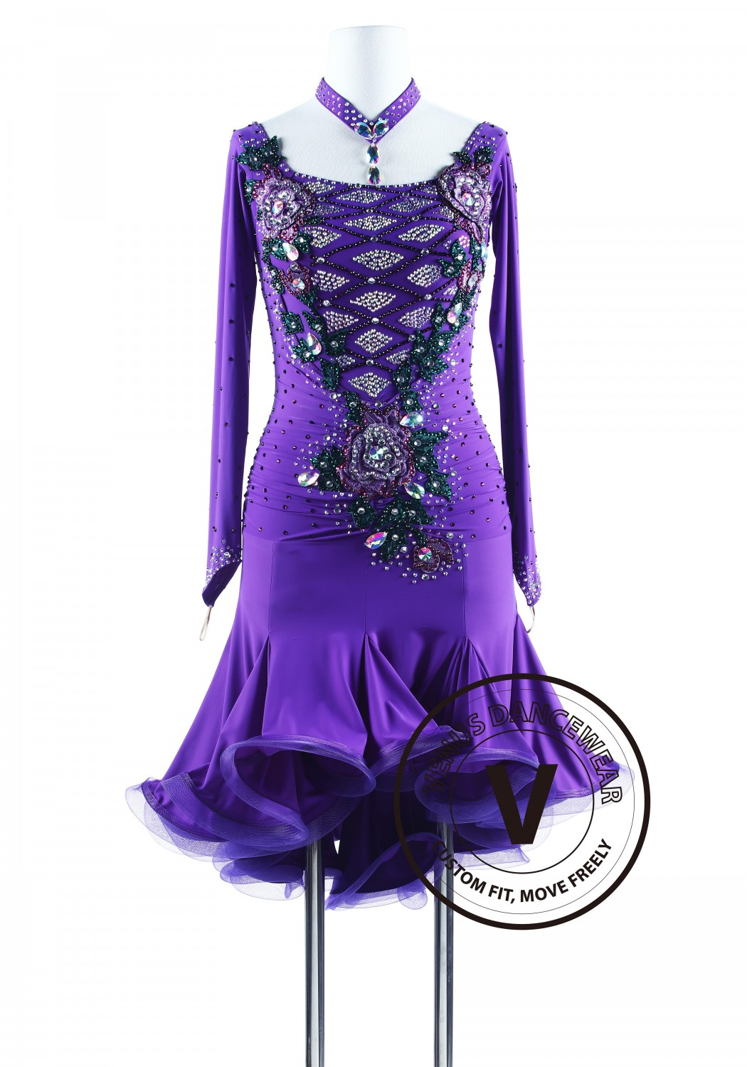 Purple Rain with Green Appliques Salsa Latin Rhythm Competition Dress