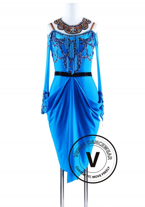 Elegant Palace Blue American Ryhthm Salsa Latin Competition Dress
