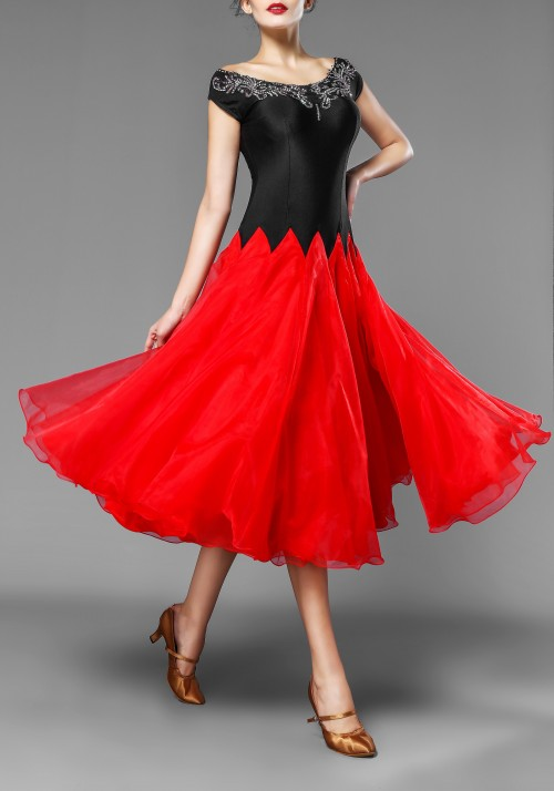 Black and Red Ballroom 3 Layers Practice Competition Dress