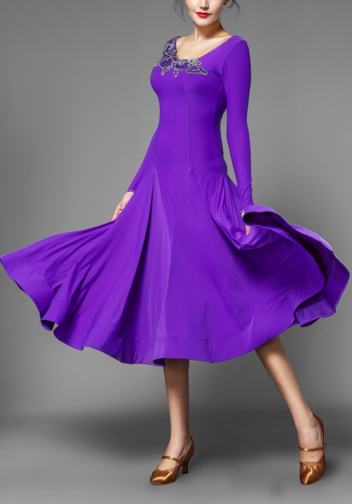 Royal Purple Ballroom Smooth Practice Dance Dress