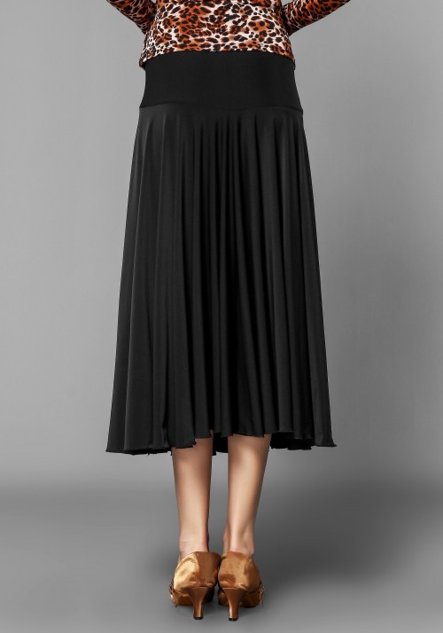 Black ballroom smooth practice dance skirt