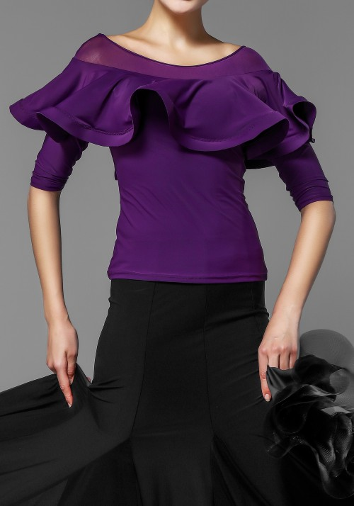 Flare Shoulder Half Sleeve Dance Top