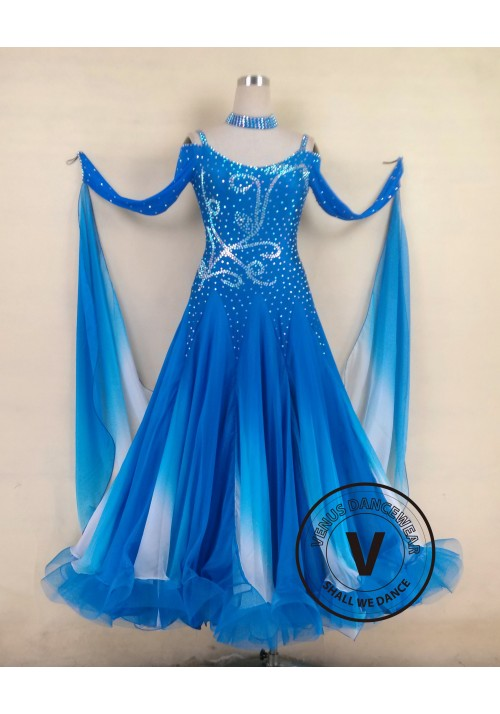 Blue Standard Smooth Tango Waltz Salsa Ballroom Competition Dress
