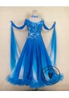 Blue Standard Smooth Tango Waltz Salsa Ballroom Competition Dress