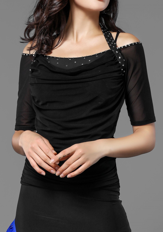 Black Double Straps Crepe Dance Top