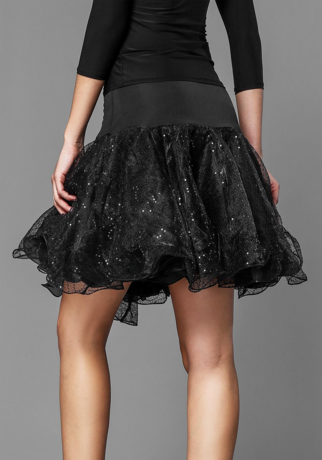 Black Shinning Organdy Latin Skirt